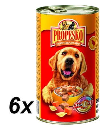 Propesko kousky pes kuře, těstoviny, mrkev 6x1 240g
