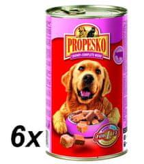 Propesko kousky pes hovězí+kuřecí+zvěřina 6 x 1240g