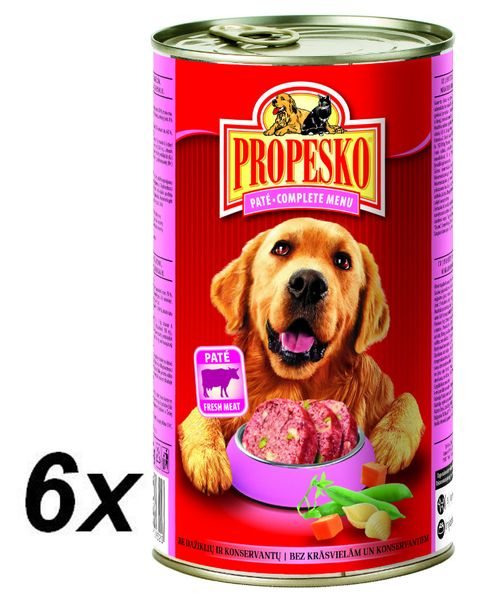 Propesko pate pes hovězí, těstoviny a zelenina 6 x 1240g