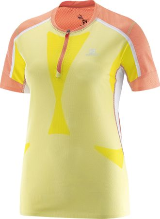 Salomon majica s kratkimi rokavi Sky Tee W, ženska, koralno-rumena, L