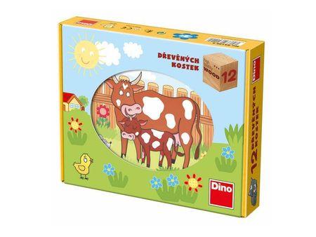Dino Kostky kubus Domácí zvířátka dřevo
