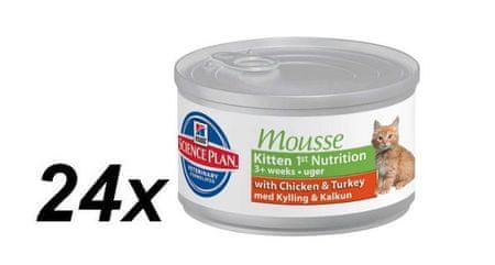 Hill's mokra hrana za mačje mladičke Feline Mousse, 24 x 85g