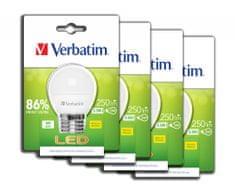 Verbatim LED žárovka E27 3,5W 250lm (25W), typ mini globe matná, teplá bílá 4ks/pack