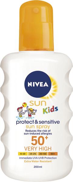 Nivea Sun Dětský sprej na opalování Sensitive SPF 50+ 200 ml