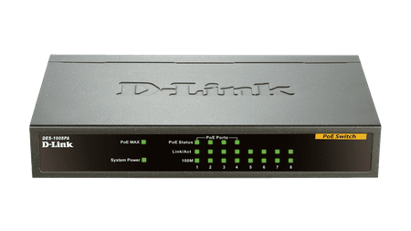 D-LINK PoE switch DES-1008PA