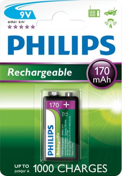 Philips 9V 1ks 170mAh Rechargeables (9VB1A17/10)