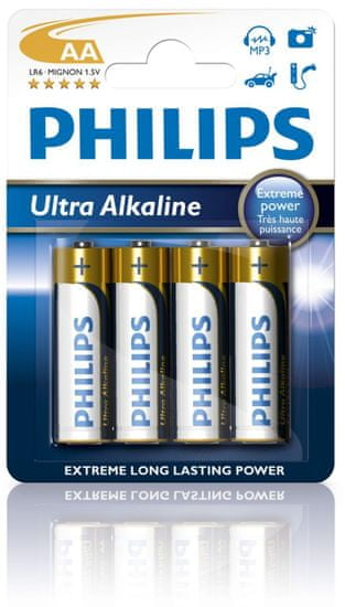 Philips baterija Ultra Alkaline AA, blister, 4 kosi