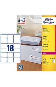 Avery Zweckform etikete L7161-100, 63.5 x 46.6 mm, bele