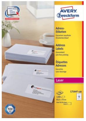Avery Zweckform etikete L7164-100, 63,5 x 72 mm, bele