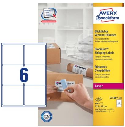 Avery Zweckform etikete L7166-100, 99.1 x 93.1 mm, bele