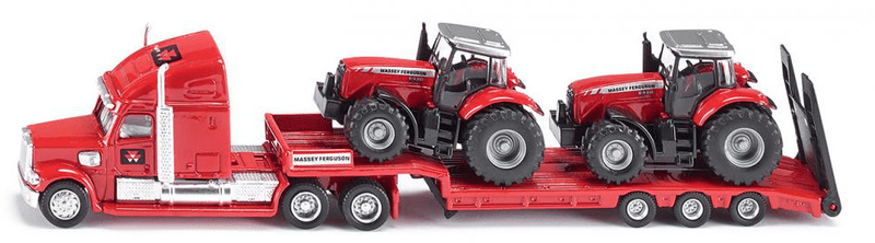 SIKU Tahač s podvalníkem a traktory Massey Ferguson 1:87