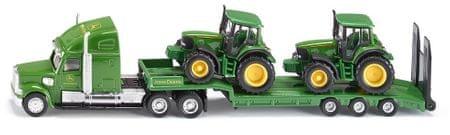 SIKU Ciężarówka John Deere z naczepą + 2 traktory