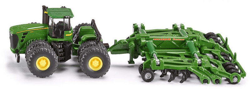 SIKU Traktor John Deere 9630 s bránami Amazone Centaur 1:87