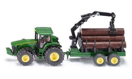 SIKU Farmer: traktor John Deere z lesenim tovorom, 1:50