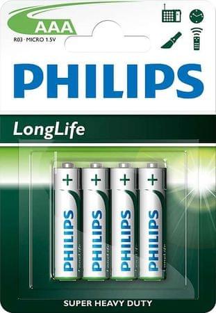 Philips baterije AAA Longlife Blister, 4 kosi (R03)