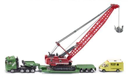 SIKU model ciężkiej koparki z samochodem transportowym oraz wspomagającym