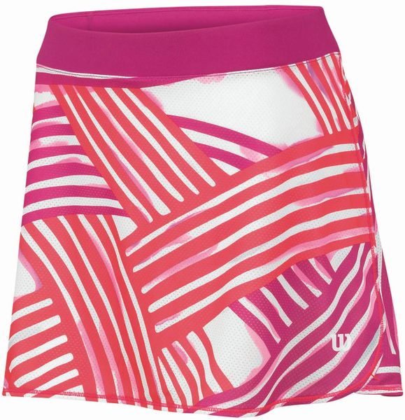 "Wilson Spring Watercolor 12.5"" Flare Skirt Neon Red Print / White M"
