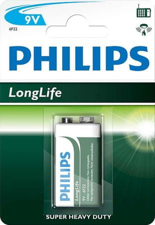 Philips bateria 9V 1 szt LongLife (6F22L1B/10)