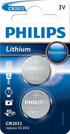 Philips baterija CR2032, 3 V, 2 kosa