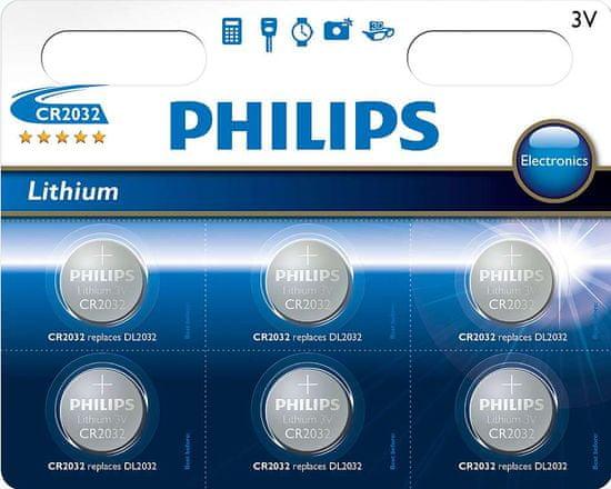 Philips baterija CR2032, 3 V, 6 kos