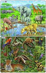 LARSEN Puzzle set Deštný prales Jižní Ameriky a Africká savana MAXI