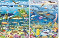 LARSEN Puzzle set Zvířata v moři a Velryba, žralok a Titanik MAXI