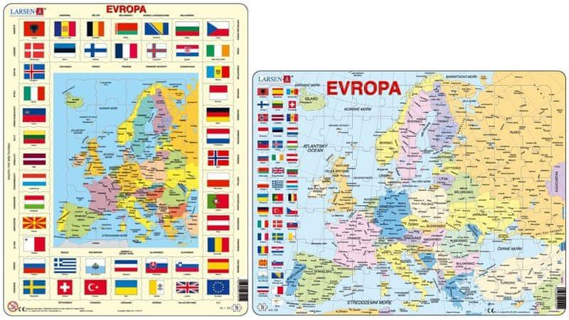 LARSEN Puzzle set Mapa Evropy a Mapa Evropy s vlajkami MAXI