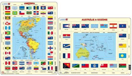 LARSEN Maxi puzzle 70 db-os Amerika térkép és zászlók KL4
