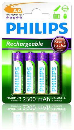 Philips polnilne baterije R6B4RTU25 AA 2500 mAh NiMH, 4 kom