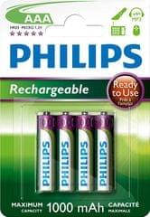 Philips polnilne baterije R03B4RTU10 AAA 1000mAh NiMH, 4 kom