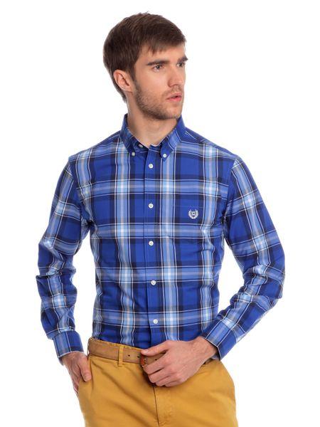 Chaps kostkovaná pánská košile s drobným logem XXL modrá