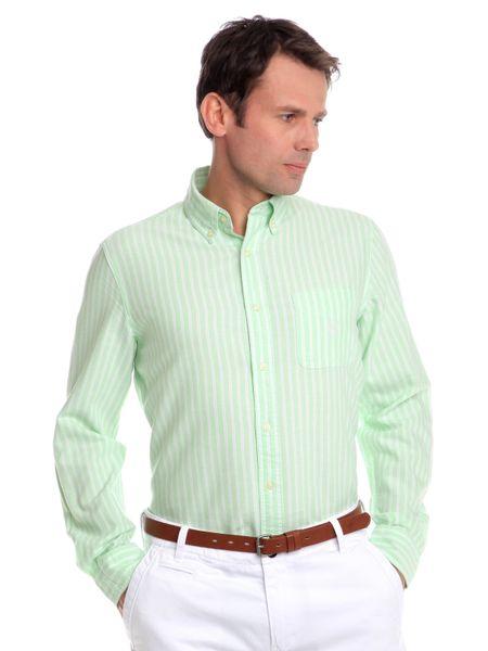Chaps jemně proužkovaná pánská košile M zelená