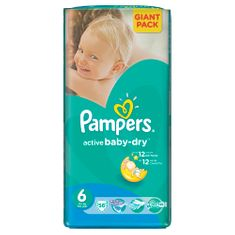 Pampers Active Baby 6 Extra Large (15+kg) Giant Pack - 56 ks
