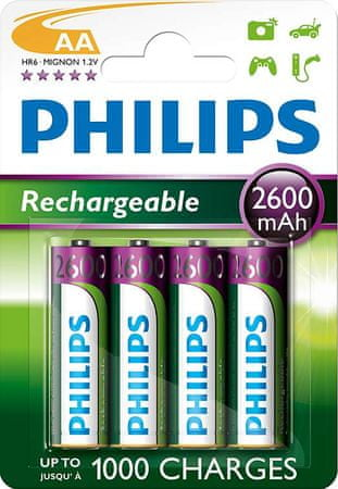 Philips baterie AA 4ks 2600mAh Rechargeables (R6B4B260/10)