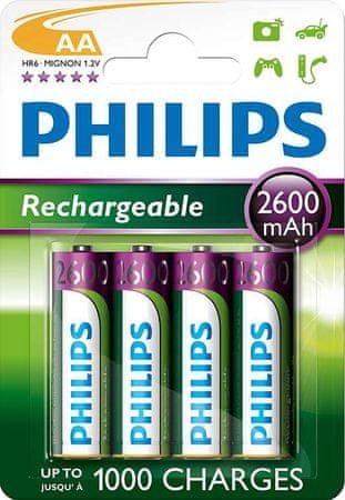 Philips polnilna baterija AA HR06, 4 kosi, blister