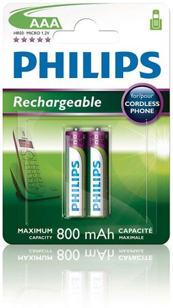 Philips baterie AAA 2ks 800mAh Rechargeables (R03B2A80/10)