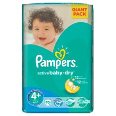 Pampers Active Baby 4+ Maxi (9-16kg) Giant Pack - 70ks