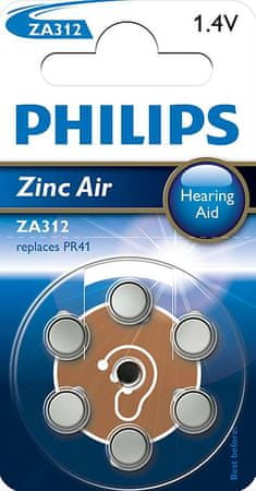 PHILIPS Zinc Air Gombelem, 6 db (ZA312B6A/10)