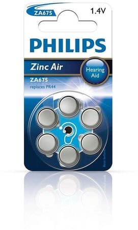 PHILIPS Zinc Air Gombelem, 6 db (ZA675B6A/10)