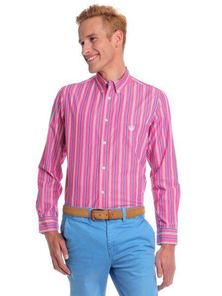 Chaps pánská košile s barevnými proužky XL růžová