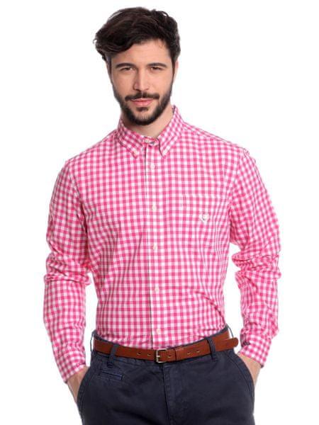 Chaps kostičkovaná pánská košile XXL růžová