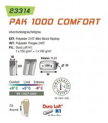 High Peak spalna vreča Pack 1000 Comfort