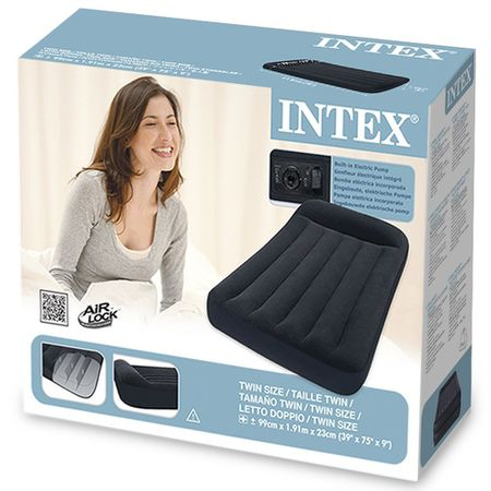 Intex krevet na napuhavanjeTwin Pillow rest classic airbed (w/220-240V, sa ugrađenom pumpom) crni