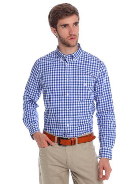 Chaps kostičkovaná pánská košile s dlouhým rukávem M modrá