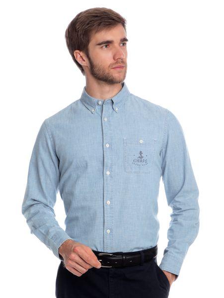 Chaps pánská košile s náprsní kapsou M světle modrá