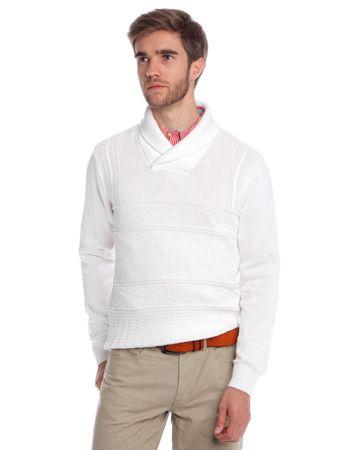 Chaps pánský svetr s límečkem M bílá
