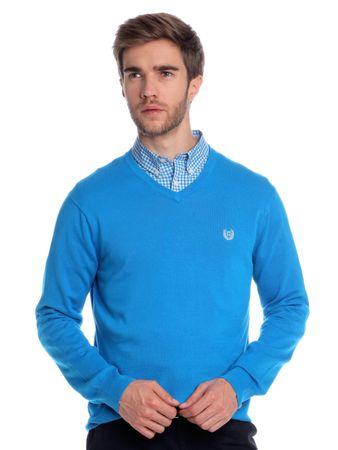Chaps pánský svetr s výstřihem do V M modrá