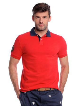 Chaps pánská polokošile s kontrastním límečkem XXL červená