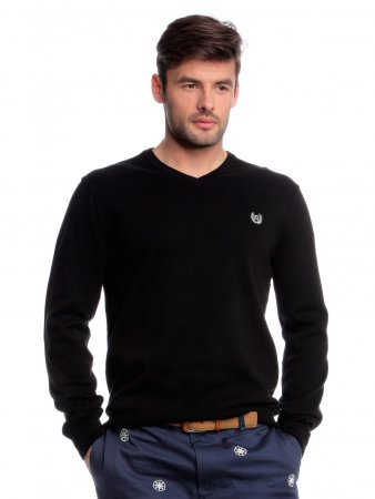 Chaps pánský svetr s výstřihem do V M černá