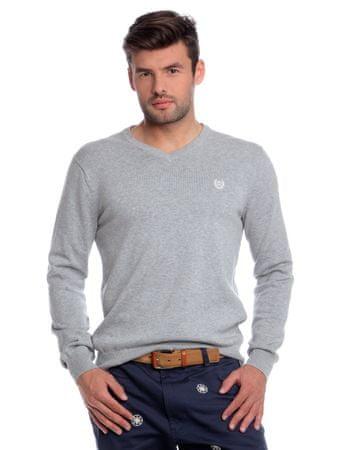 Chaps pánský svetr s výstřihem do V XXL šedá